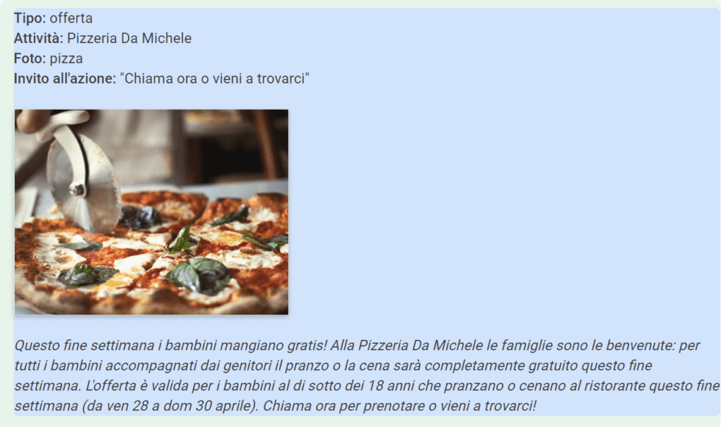 Esempio di Post di offerta su Google My Business per una pizzeria