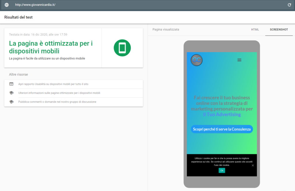 Google test mobile friendly basi della seo